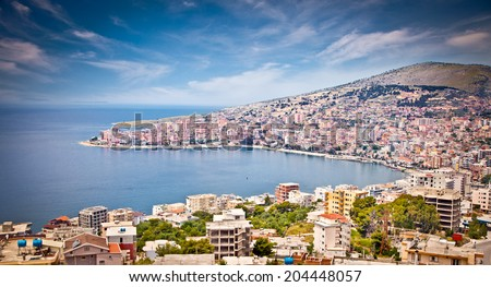 Panoramic view on Sarande city at suny day, Albania. - stock photo