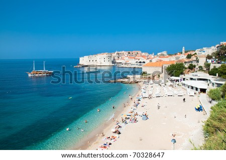 Panoramic view on the beautiful beach in Dubrovnik, Croatia - stock photo
