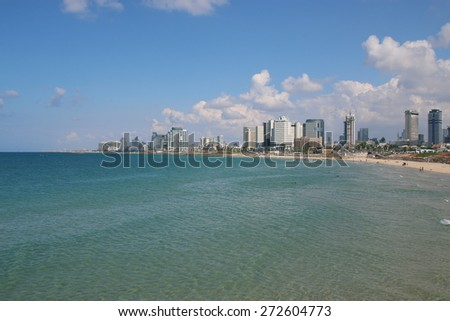 Panoramic view on the coastline of Tel Aviv, Israel. - stock photo