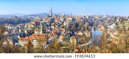 Panoramic view on the old town of Bern, Switzerland - stock photo