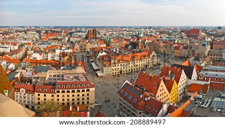 Panoramic view on town square in Wroclaw, Poland - stock photo