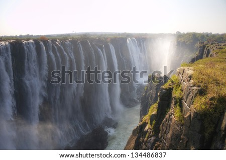 Panoramic view on Victoria Falls in Zimbabwe, Africa - stock photo