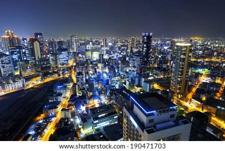 Panoramic view Osaka at night, Japan  - stock photo