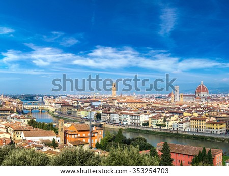 Panoramic view over cathedral of Santa Maria del Fiore in Florence, Italy - stock photo