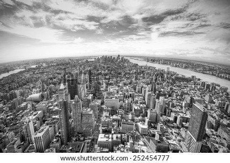 panoramic view over Manhattan, New York city from Empire State building, black and white, New York City, USA - stock photo