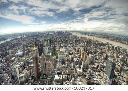 panoramic view over Manhattan, New York city from Empire State building, Panoramablick auf Manhattan, New York City, USA - stock photo