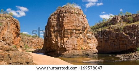 Panoramic view over Smitt Rock in the fifth gorge at Katherine Gorge, Northern Territory, Australia - stock photo