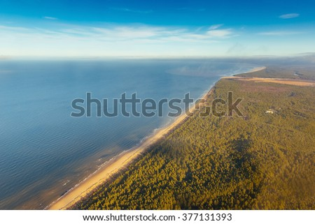 Panoramic view over the Baltic sea in Riga, Latvia. Captured from cloud level. - stock photo