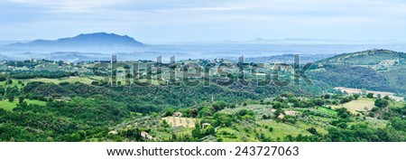 Panoramic view over the countryside of Tuscany, Italy  - stock photo