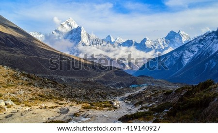 Panoramic view over white himalayas - stock photo