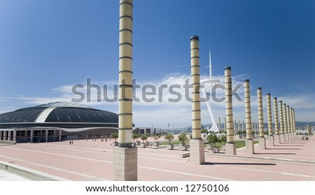 panoramic view palace of sport and transmitting tower - stock photo