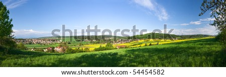 Panoramic view - spring landscape - from 6 vertical shots - stock photo