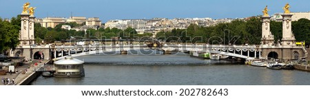 Panoramic view to Bridge of Alexandre III, Paris, France. The bridge, with its Art Nouveau lamps, cherubs, nymphs and winged horses at either end, was built between 1896 and 1900.  - stock photo