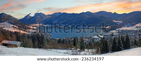 Panoramic view to lake schliersee, wintry german landscape - stock photo