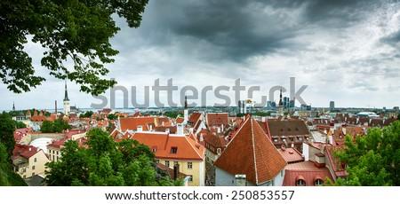 Panoramic view to old Tallinn - stock photo