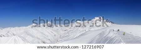 Panoramic views of Mount Kazbek. Caucasus Mountains, Georgia, ski resort Gudauri. - stock photo