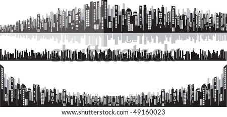 Panoramic wide cityscape for your design - stock photo