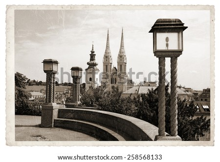 Panoramic Zagreb, View from the upper town to the Cathedral Vintage photo - stock photo