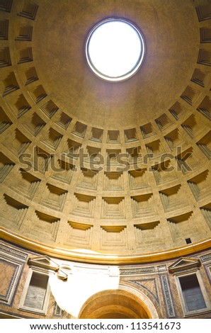 Pantheon ceiling, Rome, Italy. - stock photo