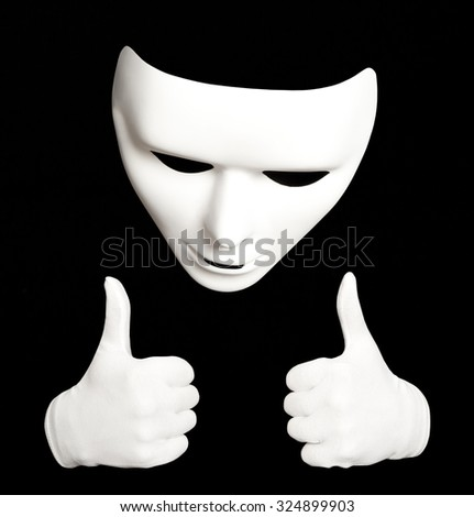 Pantomime. White theatrical mask isolated on black - stock photo