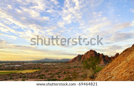 Papago Park, Red rock formation in Phoenix,Scottsdale captured at sunset with beautiful sky, Arizona - stock photo