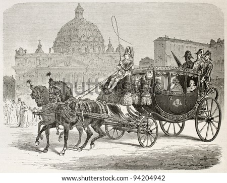 Papal carriage old illustration. Created by Bayard after Ulmann, published on Le Tour du Monde, Paris, 1867 - stock photo