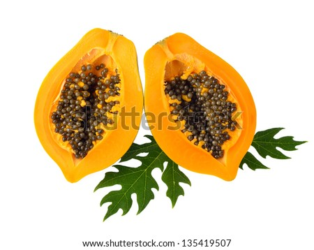 Papaya isolated on white background - stock photo