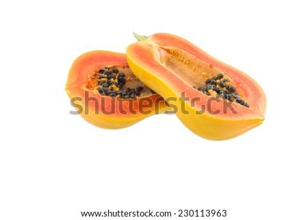papaya isolated on white background,papaya isolated on white background,old papaya - stock photo