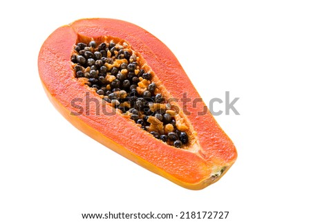 papaya isolated on white background with clipping path - stock photo