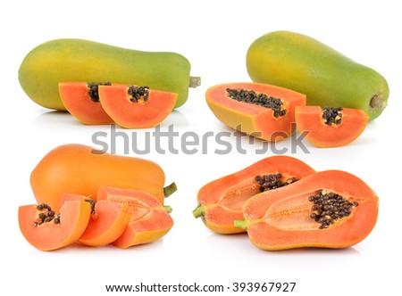 papaya on white background - stock photo