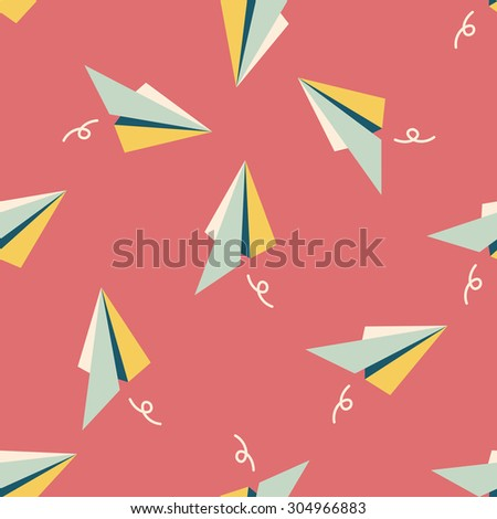 paper airplane flat icon seamless pattern background - stock photo