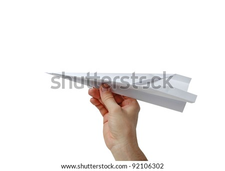 paper airplane in hand - stock photo