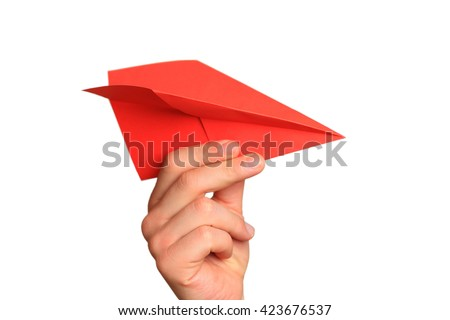 Paper airplane in  hand on white background - stock photo