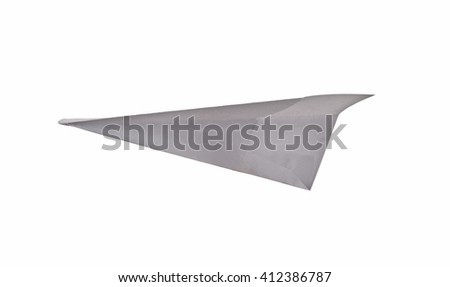 Paper airplane isolated on white background. - stock photo