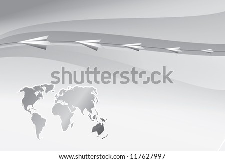 Paper airplanes fly over the world map. illustration. - stock photo