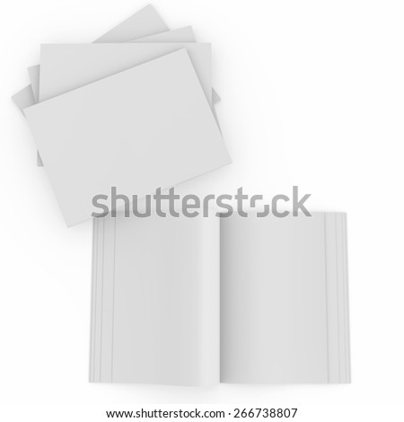 Paper and book with blank pages. 3d rendering - stock photo