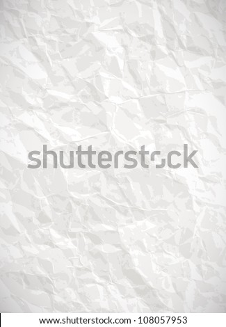 Paper background - white crumpled texture - stock photo