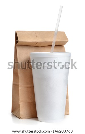 paper bag and styrofoam cup white background - stock photo