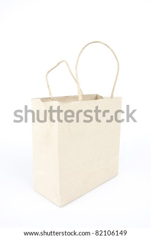 paper bag, brown plain paper bag perspective angle. - stock photo