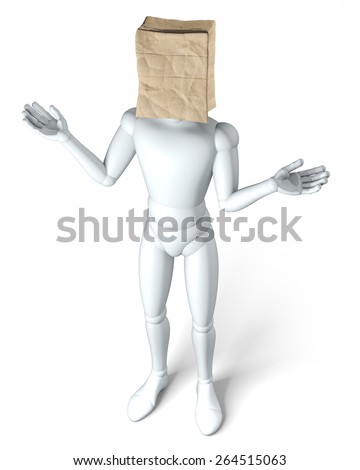 Paper bag head relaxed - Paper bag on head of a  figure, clueless - stock photo