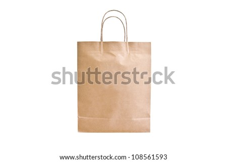 Paper bag isolate on white background - stock photo