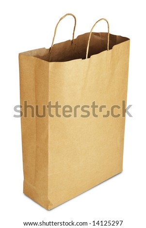 Paper bag on white - stock photo