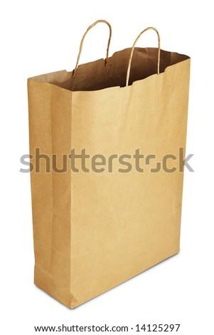 Paper bag on white - stock photo