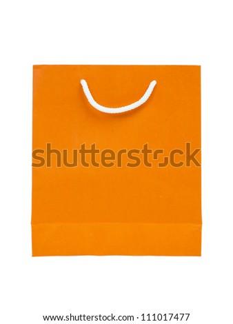 paper bag, orange color - stock photo