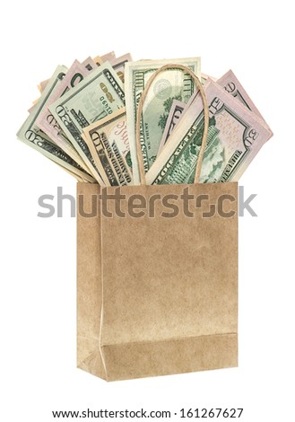 paper bag with american dollars isolated on white background. shopping concept - stock photo
