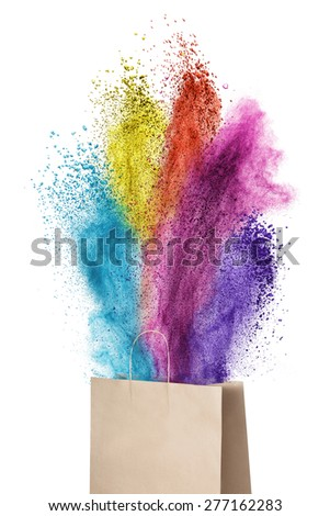Paper bag with color powder splash isolated on white background - stock photo