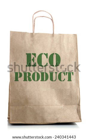 Paper bag with eco products isolated on white - stock photo