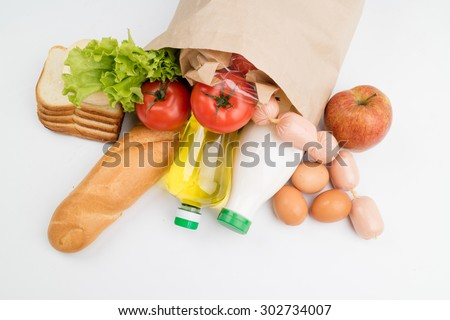 paper bag with food - stock photo