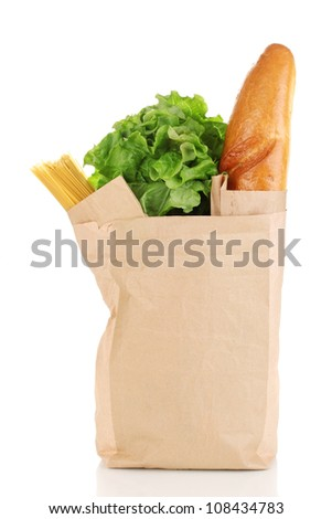 Paper bag with food isolated on white - stock photo