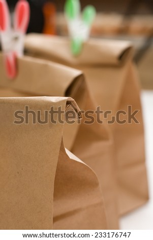 Paper bags composition closeup - stock photo